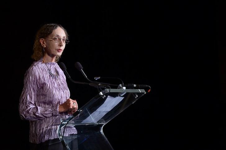 Author Joyce Carol Oates speaks onstage