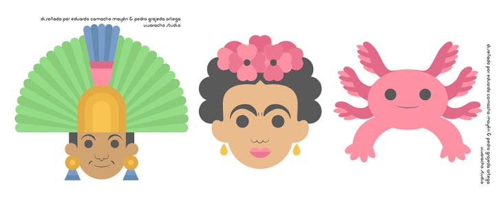 A Mayan figure in a headdress, Frida Kahlo, and a Mexican walking fish drawn as emoji.
