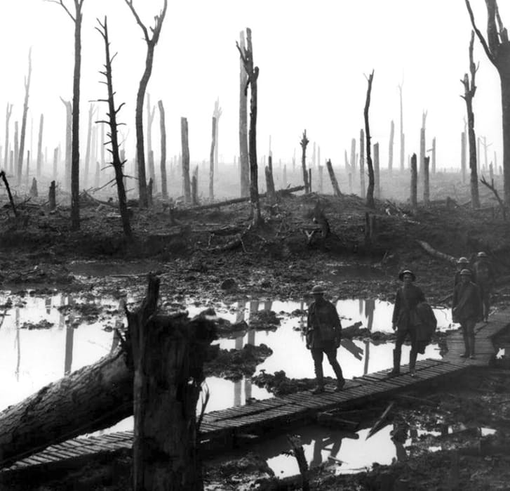 This is an image of soldiers traveling through Chateau Wood.