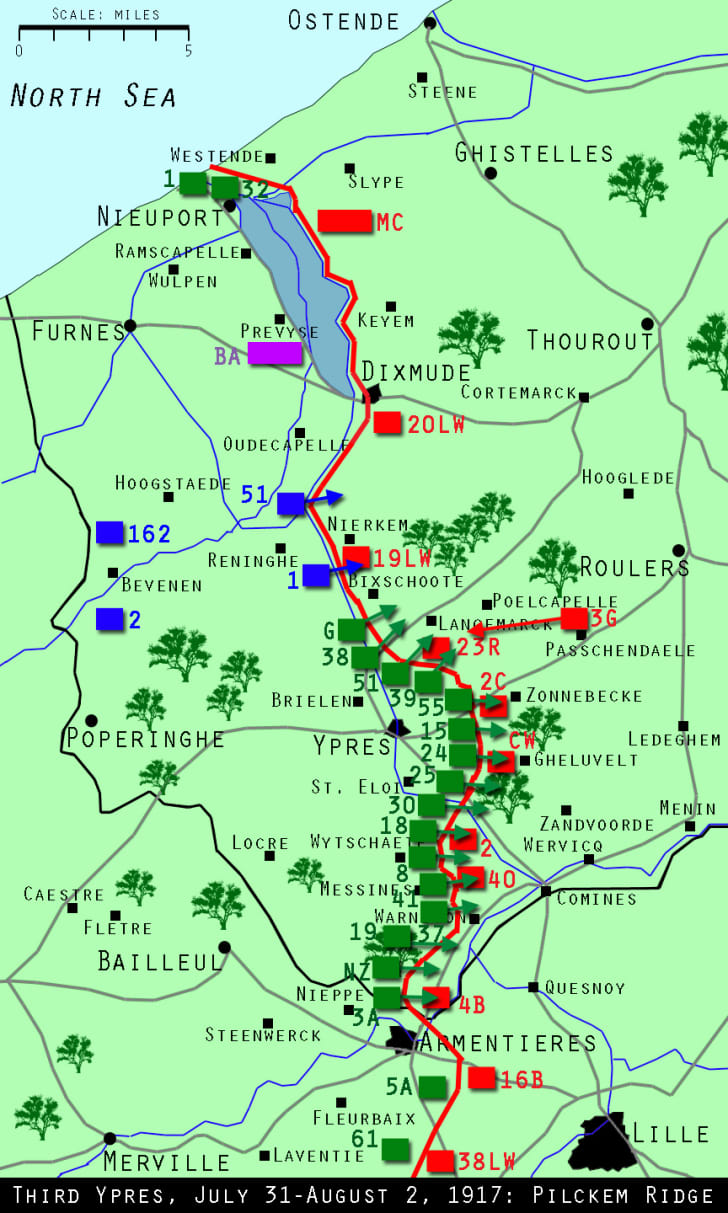 This is a map of what Ypress looked like during the Third Battle of Ypres on July 31, 1917.