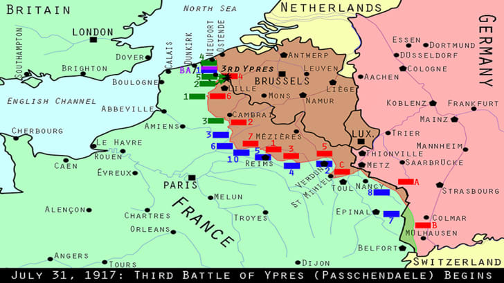 This is a map of what the Western Front looked like on July 31, 1917.