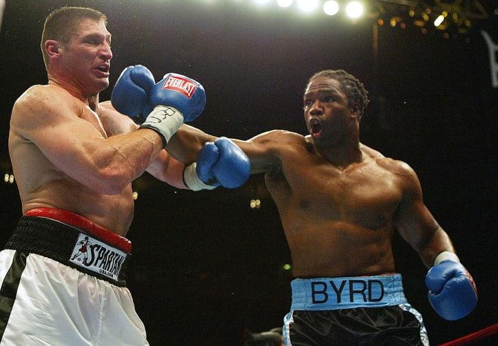 Boxer Chris Byrd hits Andrew Golota.