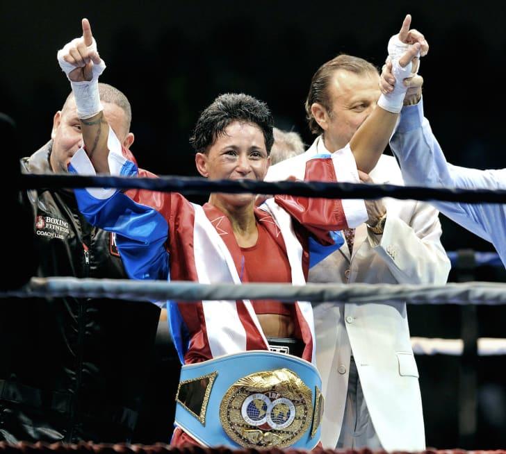 Boxer Ada Velez in the ring.