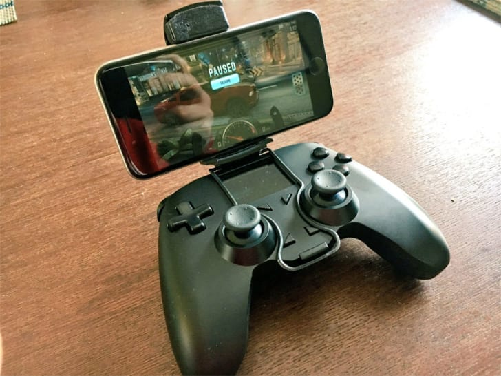 The ALL Controller with a mounted cell phone