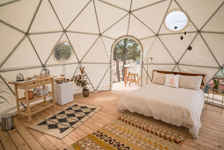 An interior view of the Airbnb geodesic dome.