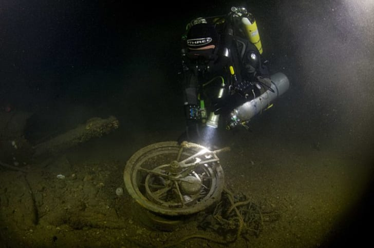Telegraph recovered from Lusitania wreck.
