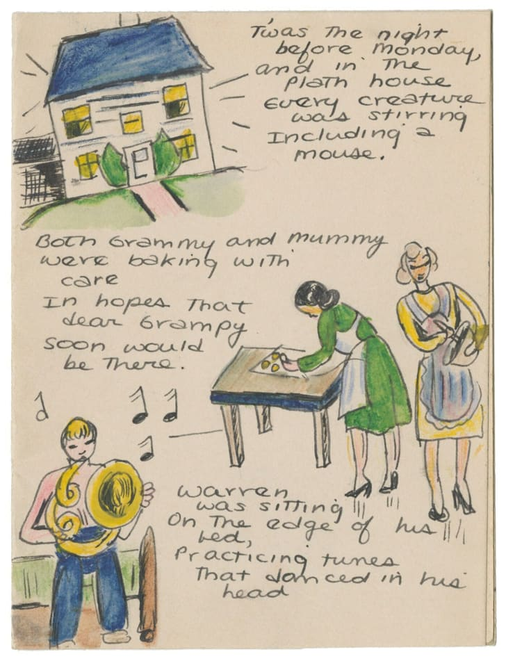 """""""Twas the Night Before Monday,"""" an artwork on display in the Smithsonian National Portrait Gallery's new exhibition """"One Life: Sylvia Plath."""""""