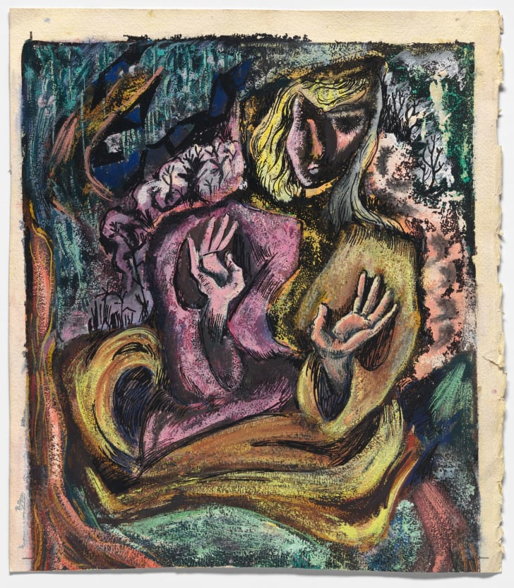 """An untitled, semi-abstract self-portrait by author Sylvia Plath, on display in the Smithsonian National Portrait Gallery's new exhibition """"One Life: Sylvia Plath."""""""