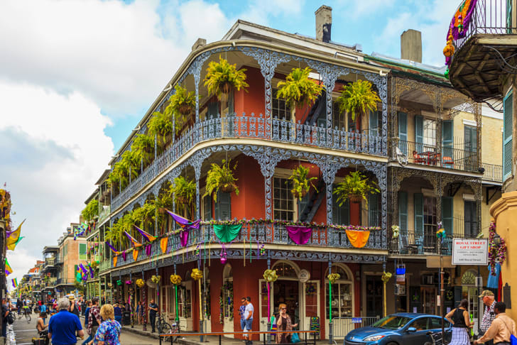 The balconies of the French Quarter decked out for Mardi Gras