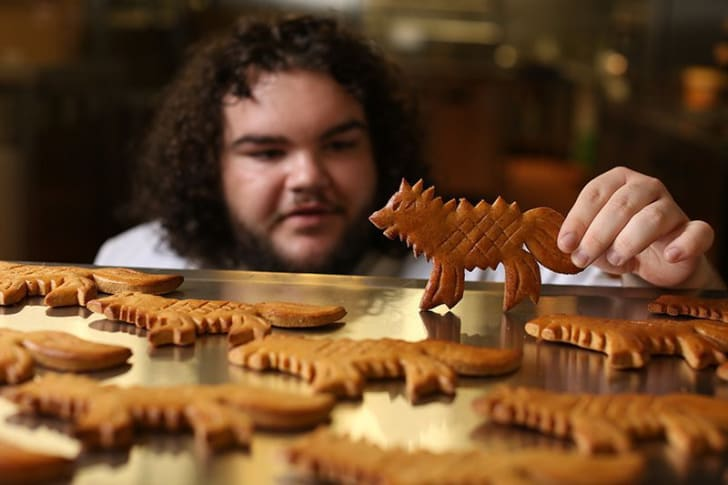 Ben Hawkey holds tray of Dire Wolf bread.