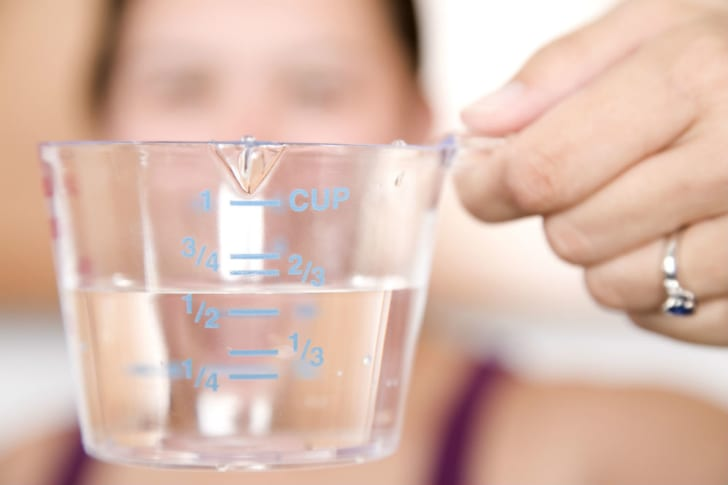 A measuring cup that looks to be designed for right-handed use