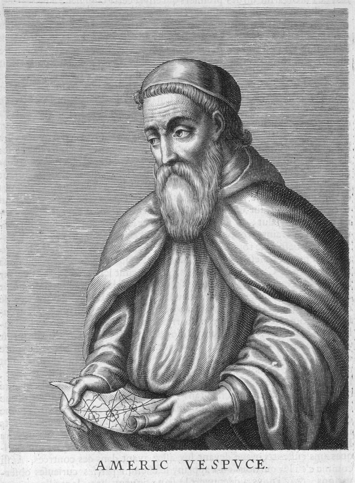 An etching of Amerigo Vespucci