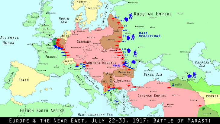 Map of Europe July 22 1917