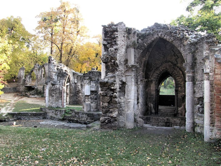 A photo of the Tata Castle ruins in Hungary