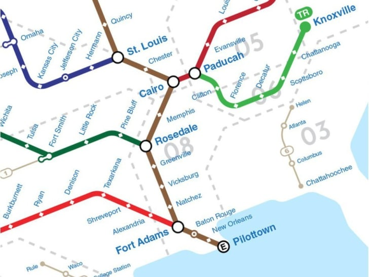 A map depicting U.S. rivers as subway routes, by graphic designer Theo Rindos