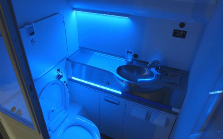A glimpse at Boeing's new UV-equipped sanitized bathroom