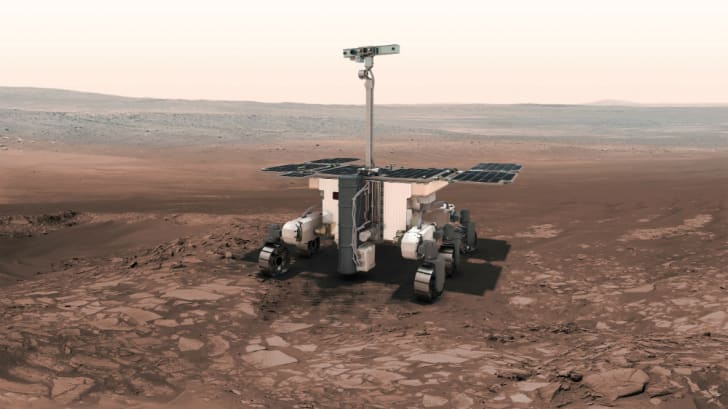 Illustration of the Curiosity rover on the Martian surface.