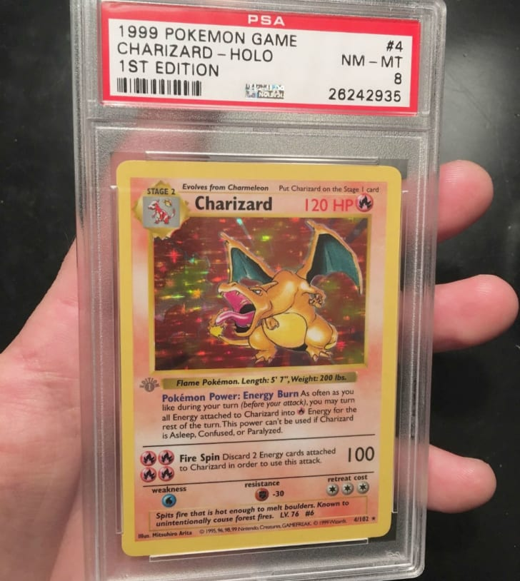 A first edition Charizard Pokemon card