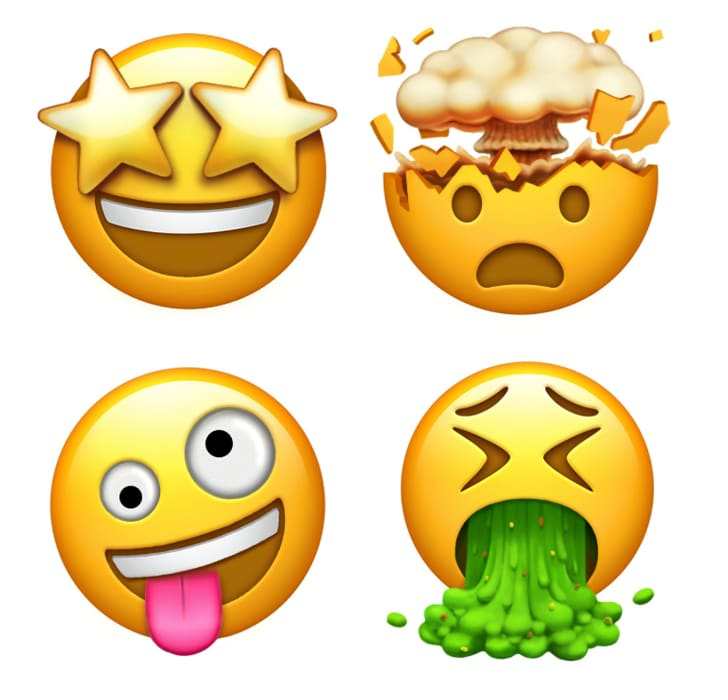 Illustration of four smiley emojis: one with starry eyes, one with an exploding head, one vomiting, and one with rolling eyes and a lolling tongue.