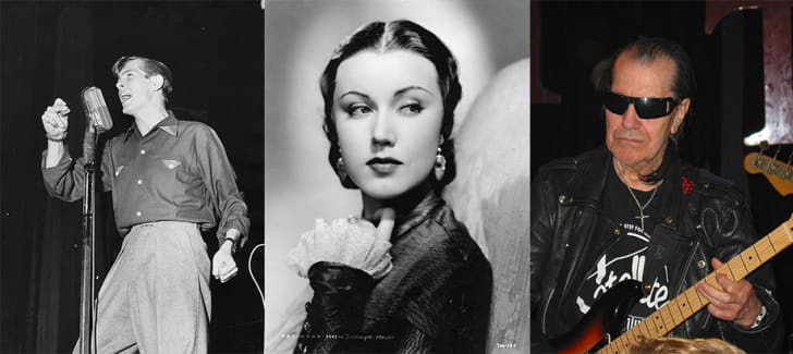 Portraits of Johnnie Ray, Fay Wray, and Link Wray.