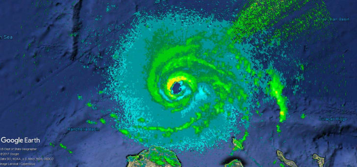 radar image of Hurricane Matthew, September 2016