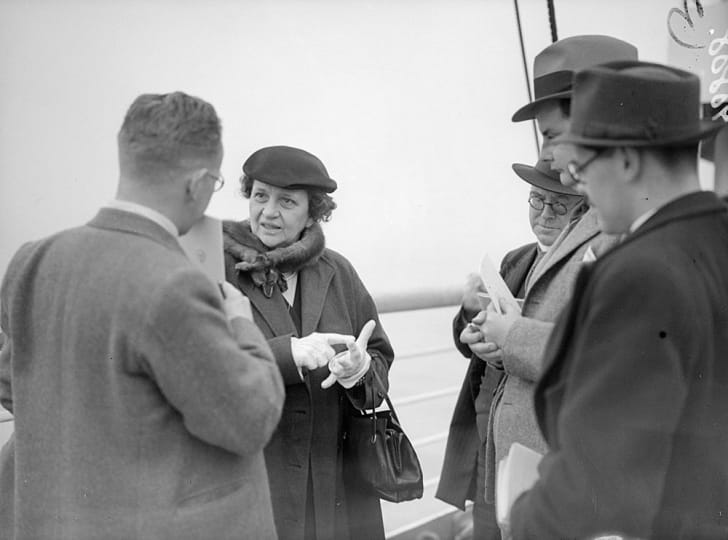 Labor Secretary Frances Perkins onboard an ocean liner in 1938
