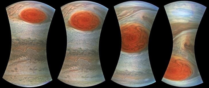 sequential views of the great red spot of jupiter