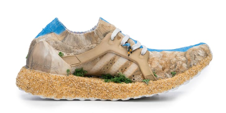 Sneaker designed to look like a mountain.