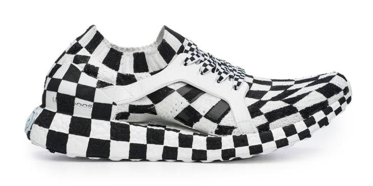 Checkered running shoe.