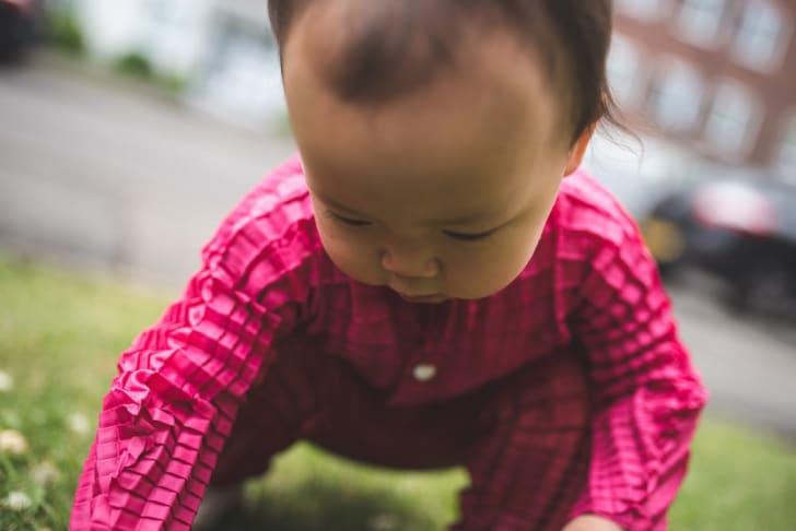 Child wearing stretchable clothing.