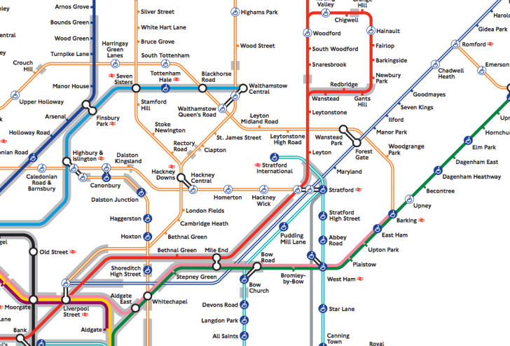 Section of London Underground map.