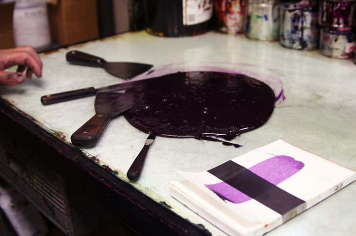 A puddle of purple ink that has just been mixed