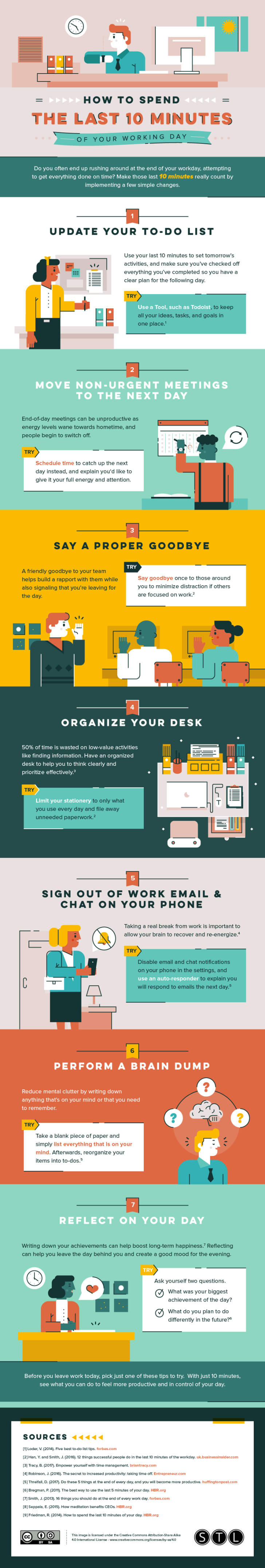 A colorful infographic about making the most of your end-of-work routine