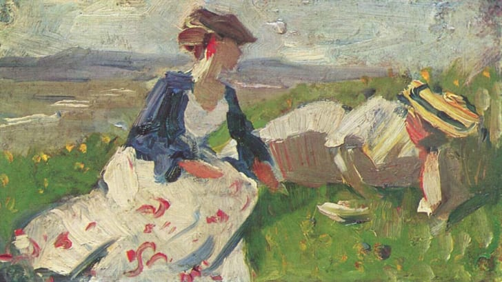 This is an image of Two Women on the Hillside by Franz Marc.