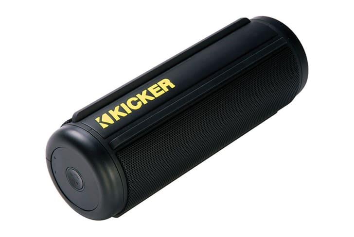 A black Kicker Bluetooth speaker