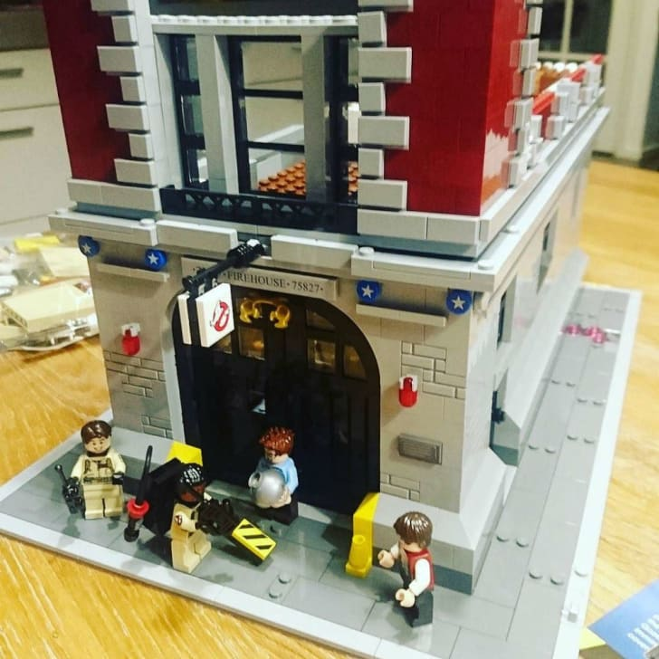 The LEGO Ghostbusters Firehouse entrance is shown