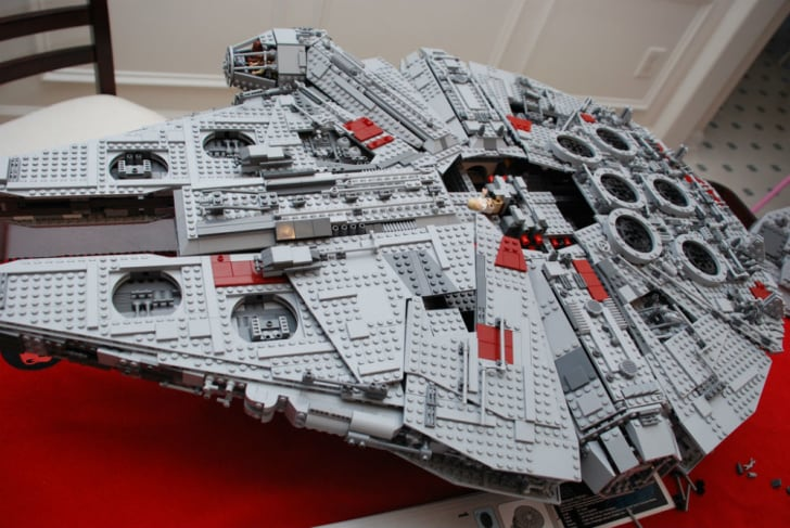 The LEGO Millennium Falcon sits on display