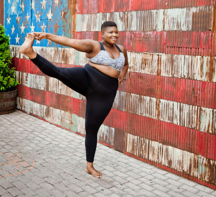 Yoga instructor Jessamyn Stanley in a standing pose