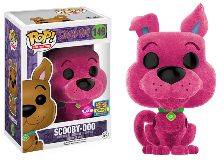 A Funko figurine of a pink Scooby-Doo.