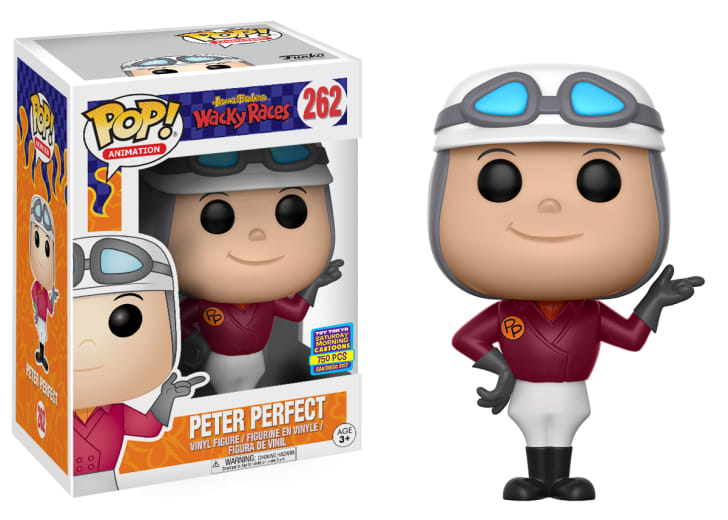 "A Funko figurine of Peter Perfect from the Hanna-Barbera cartoon ""Wacky Races."""