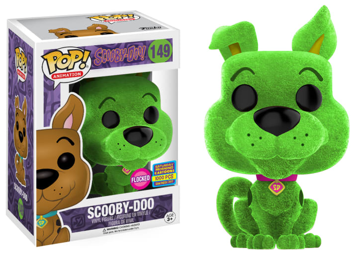 A Funko figurine of a green Scooby-Doo.