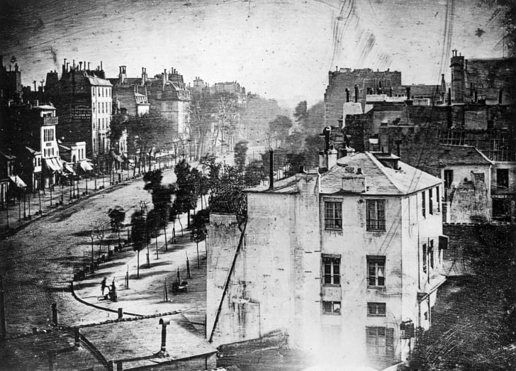 A Daguerreotype showing Boulevard du Temple in Paris