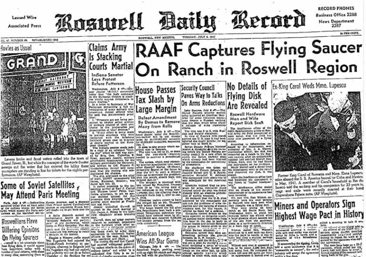 Newspaper from Roswell, New Mexico from July 8, 1947.