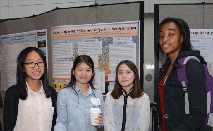 Four student researchers at the American Museum of Natural History
