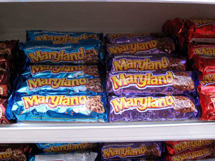 Rows of Maryland Cookies on the shelves of a supermarket in Iceland.