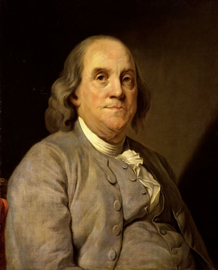 A painted portrait of Benjamin Franklin