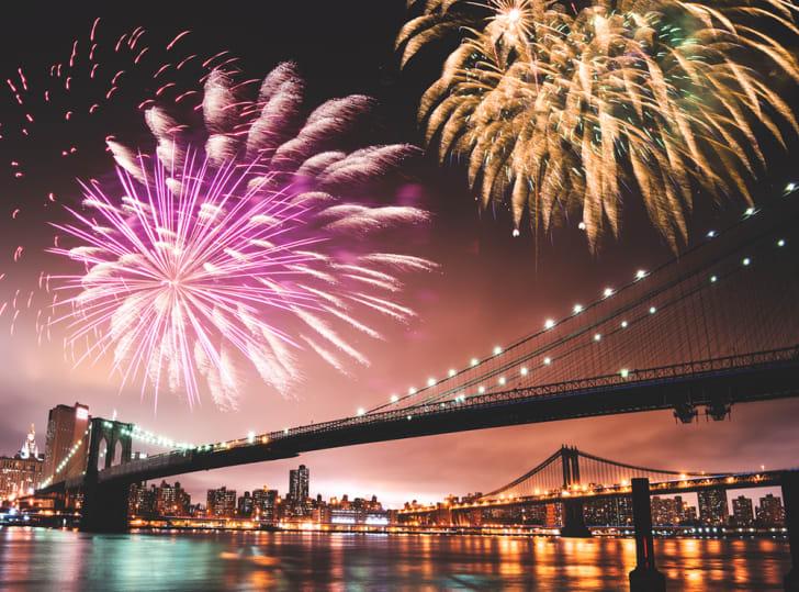 fireworks over new york city