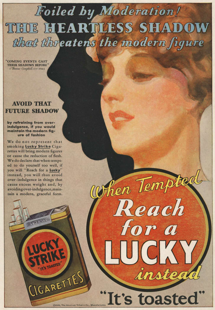 An ad for Lucky Strike cigarettes
