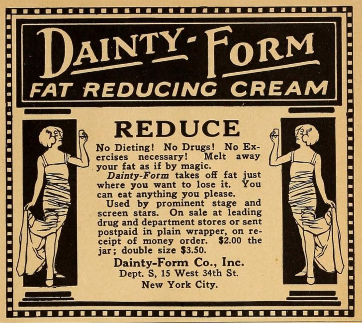 An ad for a weight loss cream