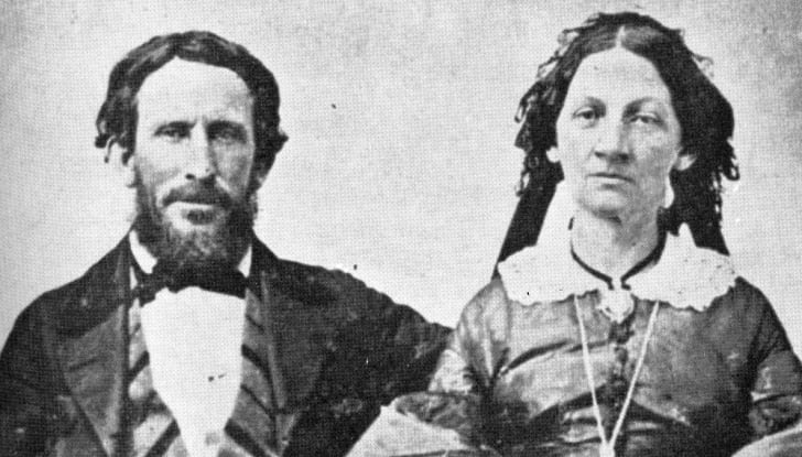 A black and white photograph of James and Margaret Reed, who went with the Donner Party